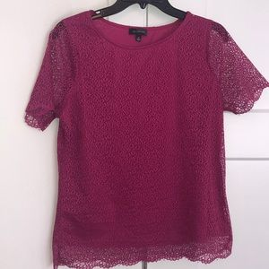 The Limited fuchsia crochet lace lined blouse
